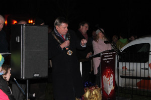 Lord Mayor of Newtownabbey addresses Ballyrobert Village at their Christmas light switching on ceremony 2013