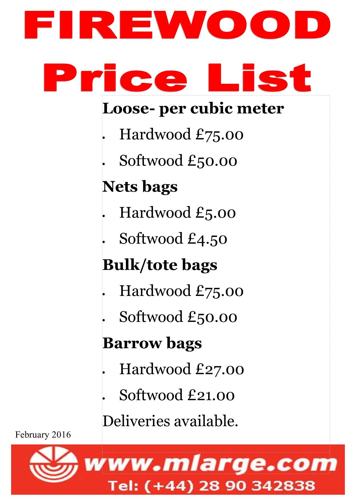 Feb 2016 firewood price list