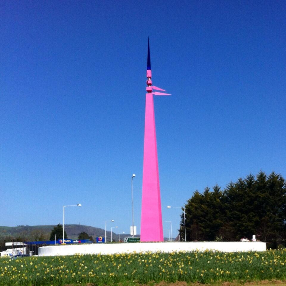 Whiteabbey Spike Sculpture Painted Pink for Giro D'Italia 2014