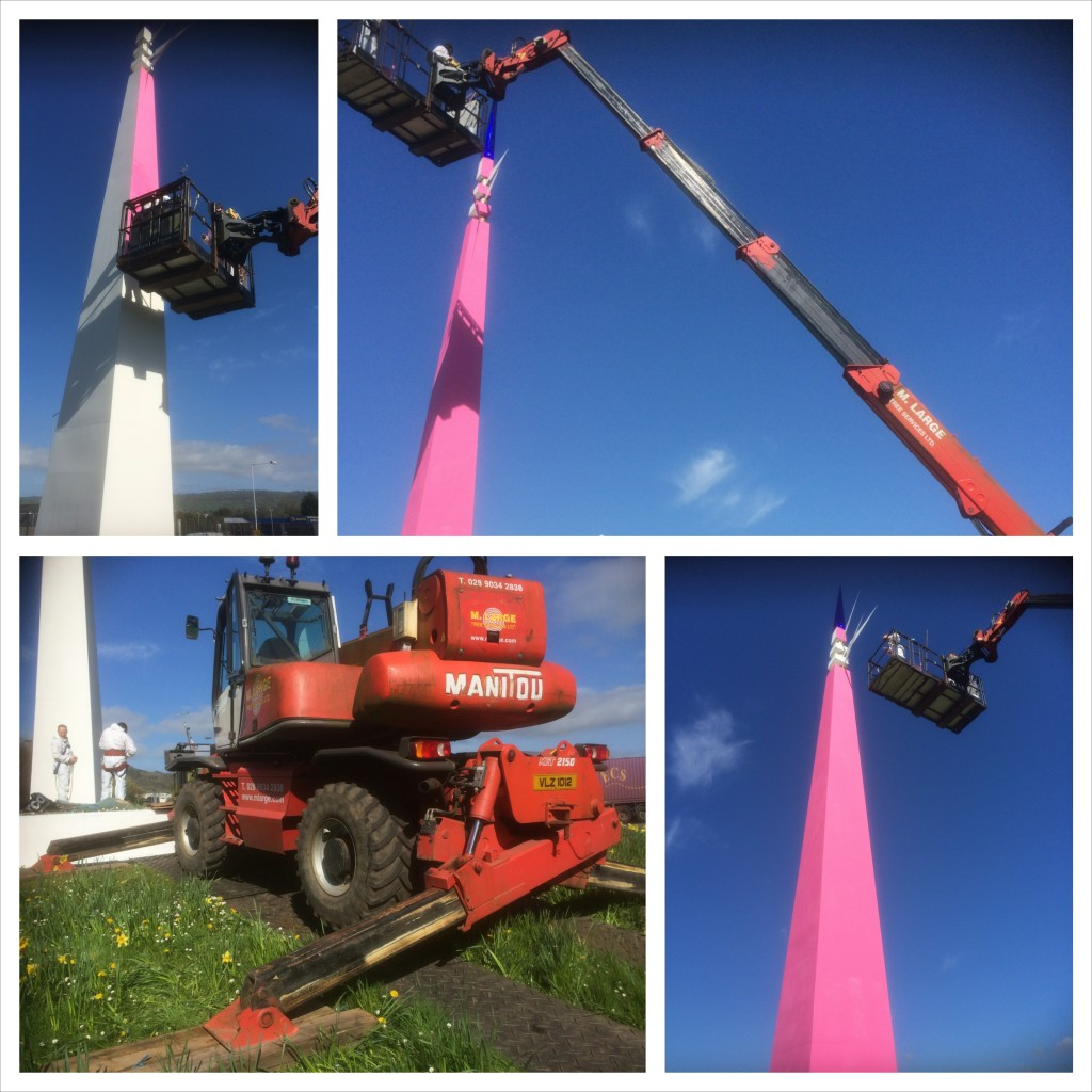 Whiteabbey Spike Sculpture gets painted pink for Giro D'Italia 2014 by M.Large