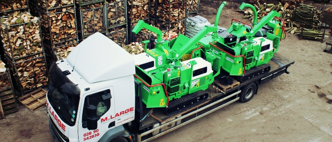 Mean Green Machines - Greenmech wood chippers loaded up for client orders.