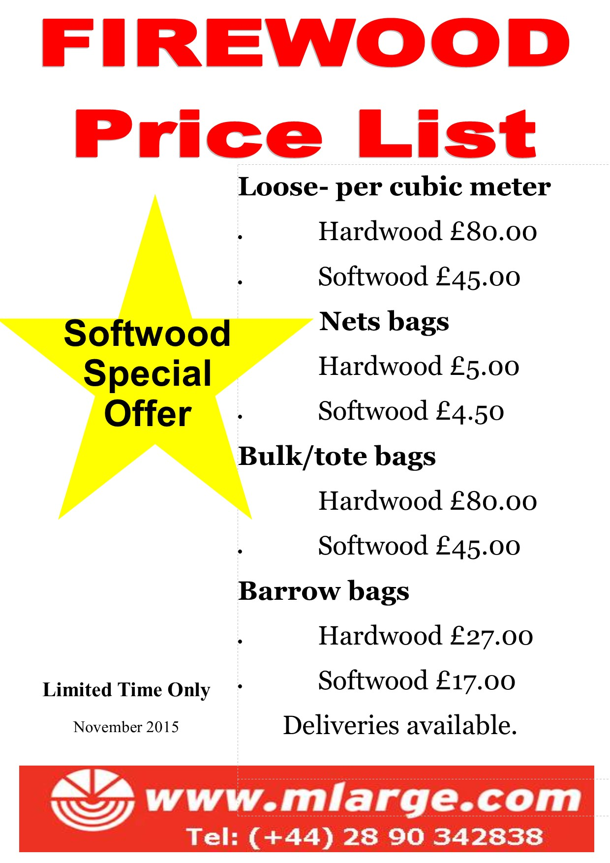 November 2015 firewood price list #2