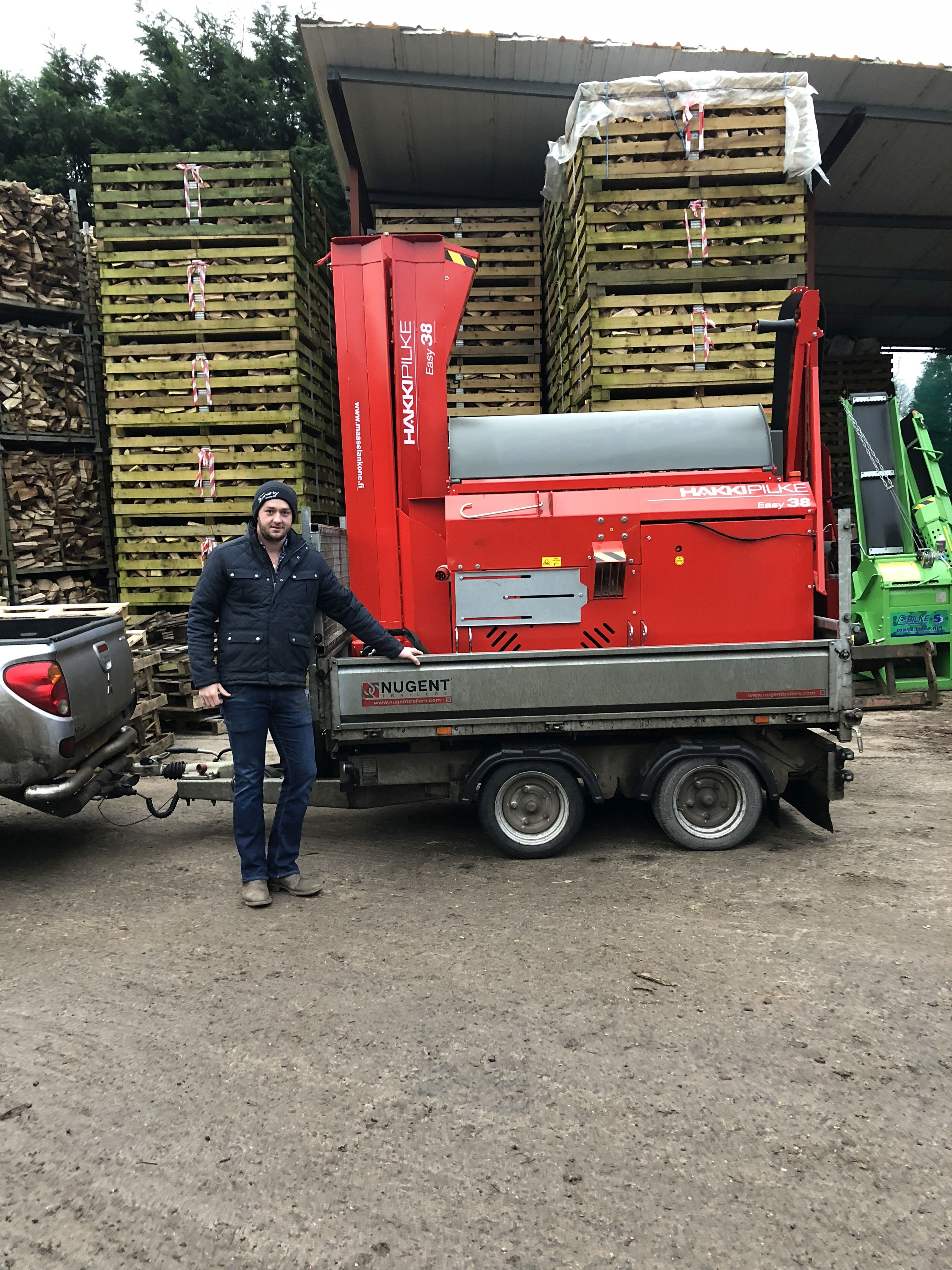 Ronan Travers from Michael Doherty Haulage, taking delivery of his new Hakki Pilke Easy 38 firewood processor - good luck and thank you for your custom... #hakkipilke #firewoodprocessor  Safe and happy cutting!  The Easy 38 firewood processor is an ergonomic powerhouse that can cut and split wood up to 38 cm in diameter. The electrically-operated splitting control mechanism and hydraulic saw ensure that smaller wood can be sawn and split considerably faster. Interested in a demo or quote?  📧cheryl@mlarge.com